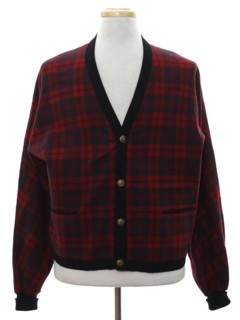 1950's Mens Mod Wool Tartan Plaid Sweater Jacket