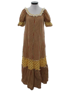 1970's Womens Hawaiian Hippie Maxi Dress