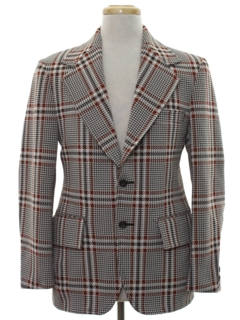 1970's Mens Plaid Disco Blazer Sport Coat Jacket
