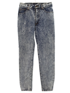 1980's Womens Totally 80s Acid Washed Jeans Denim Pants