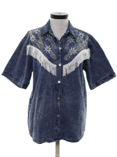 1980's Womens Totally 80s Denim Western Shirt