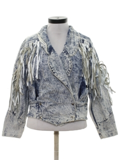 1980's Womens Totally 80s Fringed Acid Wash Denim Jacket