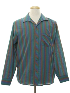 1980's Mens Totally 80s Designer Striped Sport Shirt