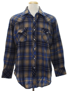 1980's Mens Wool Flannel Western Shirt