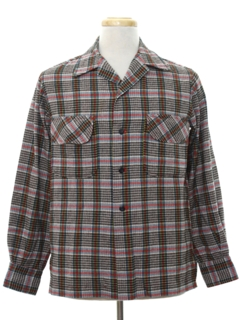 1960's Mens Mod Flannel Sport Shirt Style Board Shirt