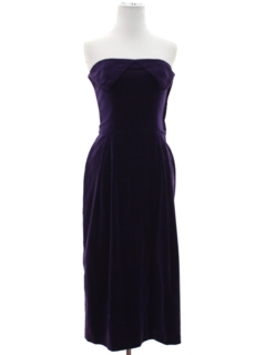 1960's Womens or Girls Velvet Prom Or Cocktail Dress