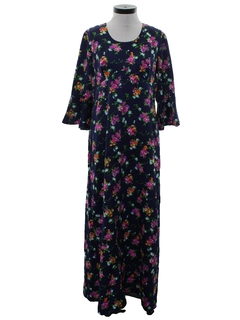 1970's Womens Floral Maxi Dress