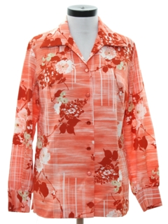 1970's Womens Print Floral Disco Style Shirt