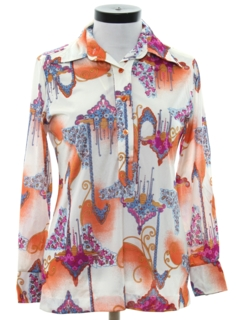 1970's Womens Psychadelic Op-art Style Print Disco Shirt