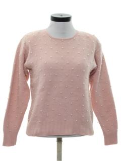 1980's Womens Beaded Angora Sweater