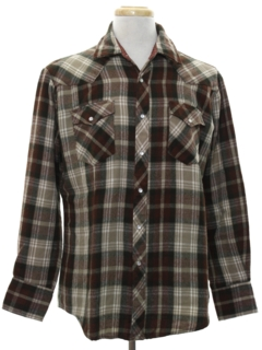 1980's Mens Western Style Flannel Shirt