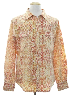 1990's Mens Hippie Style Print Western Shirt