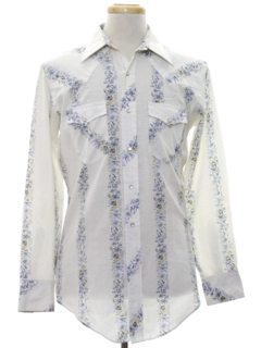 1980's Mens Hippie Style Print Western Shirt