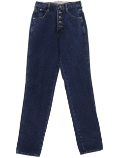 1980's Womens Totally 80s Tapered Leg Slim Fit Denim Jeans Pants