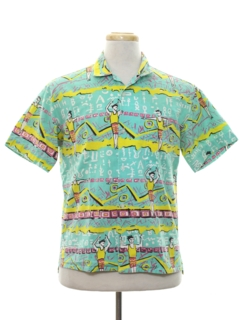 1980's Mens Totally 80s Graphic Print Surf Style Sport Shirt