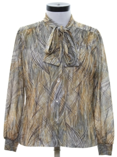 1970's Womens Print Secretary Shirt