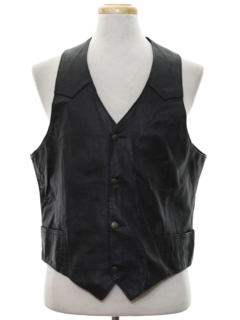 1980's Mens Leather Vest