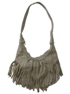 1980's Womens Accessories - Totally 80s Leather Fringed Purse