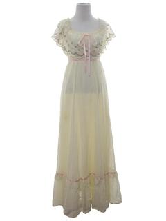 1980's Womens Prairie Style Hippie Maxi Dress