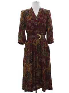 1980's Womens Rayon Secretary Dress