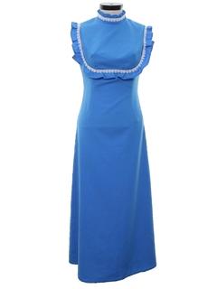 1970's Womens Prairie Style Hippie Maxi Dress