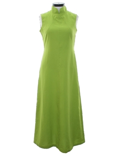 1960's Womens Mod Cheongsam Style Maxi Dress