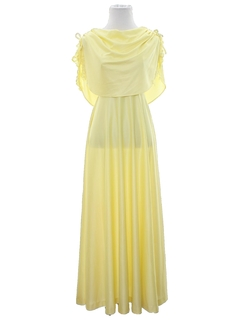 1970's Womens Disco Style Prom Or Cocktail Maxi Dress