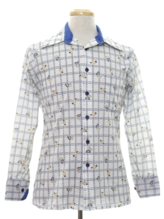 1970's Mens Cotton Blend Print Disco Style Shirt