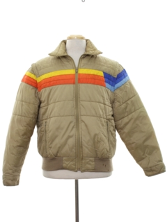 1980's Mens Totally 80s Rainbow Ski Jacket