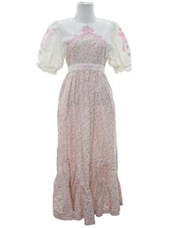1980's Womens Hippie Style Prairie Maxi Dress