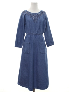 1980's Womens Denim Hippie Dress