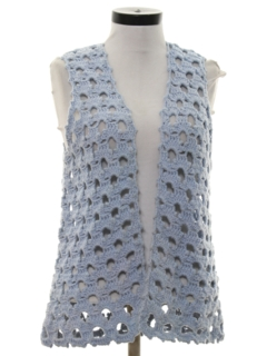 1960's Womens Hippie Crocheted Sweater Vest