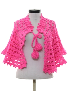 1960's Womens Acrylic Knit Cape or Shawl Style Sweater