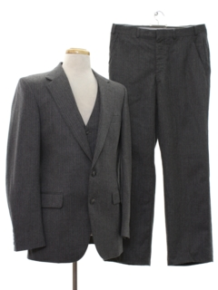 1980's Mens Three Piece Pinstriped Suit