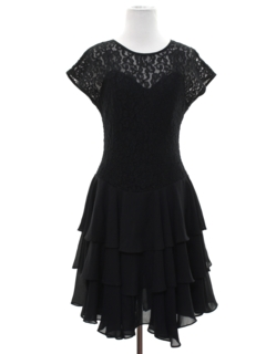 1980's Womens Goth Prom Or Cocktail Dress
