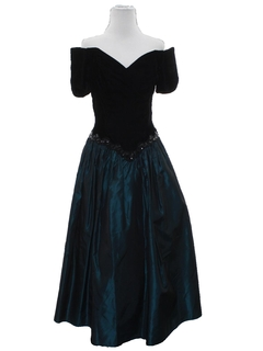 1980's Womens Designer Totally 80s Maxi Prom Or Cocktail Dress
