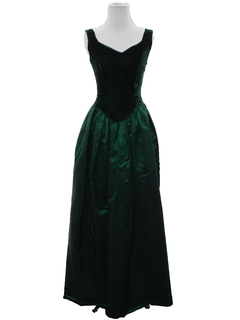 1980's Womens Totally 80s Velvet Prom or Cocktail Maxi Dress