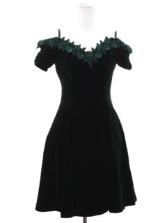 1980's Womens Totally 80s Velvet Mini Prom Or Cocktail Dress