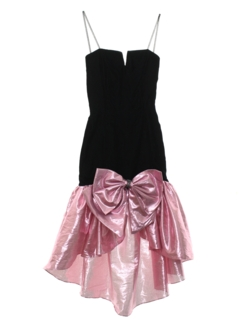 1980's Womens/Girls Totally 80s Asymmetrical Velvet Prom Or Cocktail Dress