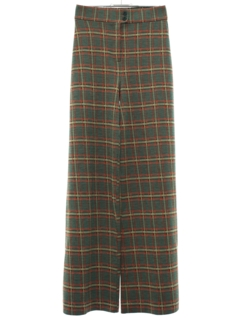 1970's Womens Plaid Bellbottom Knit Pants