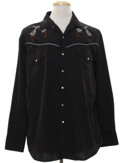 1990's Mens Embroidered Rodeo Style Western Shirt