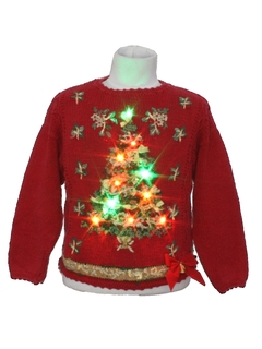 1980's Unisex/Kids Multicolor Lightup Ugly Christmas Sweater