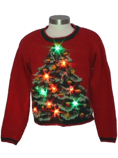 1980's Womens or Girls Multicolor Lightup Ugly Christmas Sweater