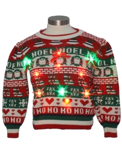 1980's Womens or Girls Vintage Multicolor Lightup Ugly Christmas Sweater