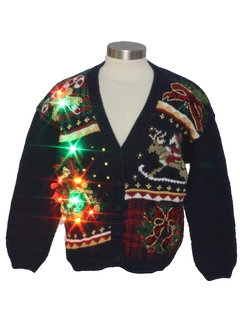 1990's Womens Vintage Multicolor Lightup Ugly Christmas Cardigan Sweater