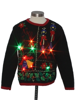 1980's Unisex Ladies or Boys Multicolor Lightup Ugly Christmas Sweater