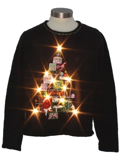 1980's Womens White Lightup Ugly Christmas Sweater