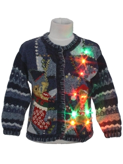 1980's Unisex/Childs Multicolor Lightup Bear-riffic Ugly Christmas Sweater