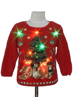 1980's Unisex/Childs Multicolor Lightup Ugly Christmas Sweater