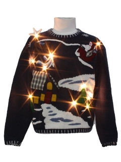 1980's Unisex Ladies or Boys WHite Lightup Ugly Christmas Sweater